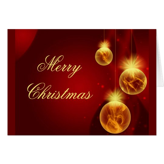 golden ornaments christmas greeting card