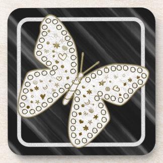 Golden Ornate White Doodle Art Butterfly on Black Beverage Coaster