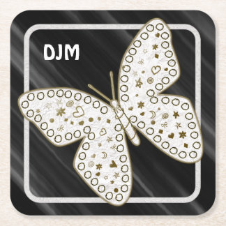 Golden Ornate White Doodle Art Butterfly on Black Square Paper Coaster