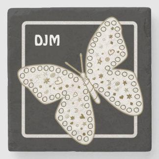 Golden Ornate White Doodle Art Butterfly on Black Stone Coaster