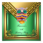 Golden Owl Elite Elegant Birthday Party Green 5.25x5.25 Square Paper Invitation Card
