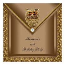 Golden Owl Image Elite Elegant Birthday Party Card