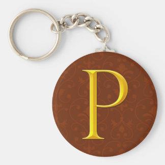Golden P Monogram Keychain