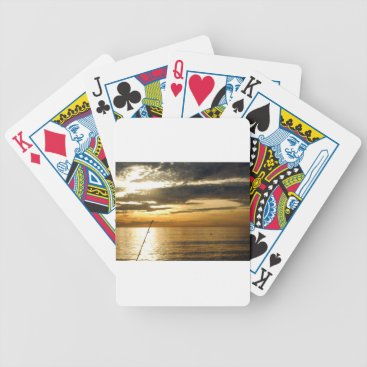 Beach Themed golden pacific sunset bicycle playing cards