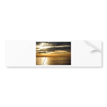 Beach Themed golden pacific sunset bumper sticker