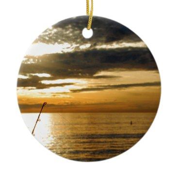 Beach Themed golden pacific sunset ceramic ornament