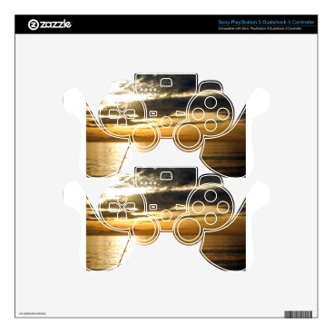 Beach Themed golden pacific sunset decal for PS3 controller
