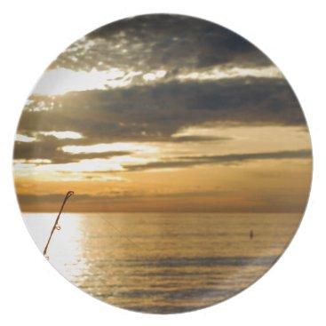 golden pacific sunset dinner plate