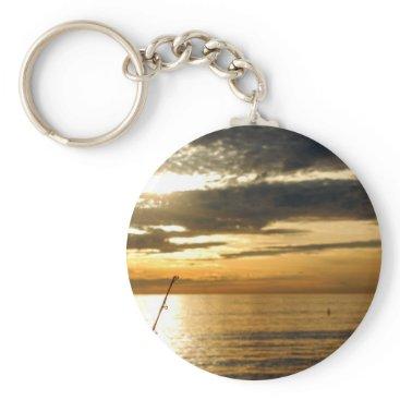 Beach Themed golden pacific sunset keychain