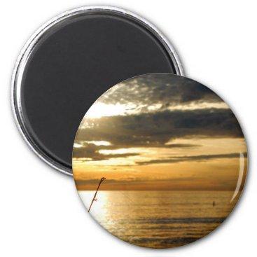 Beach Themed golden pacific sunset magnet
