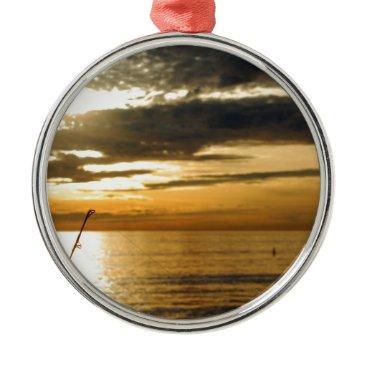 Beach Themed golden pacific sunset metal ornament