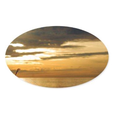 Beach Themed golden pacific sunset oval sticker