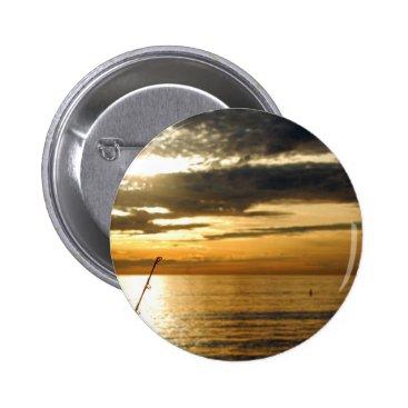 Beach Themed golden pacific sunset pinback button