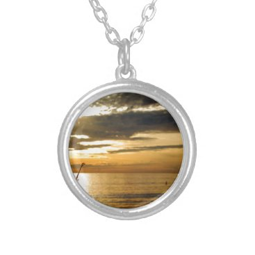 Beach Themed golden pacific sunset silver plated necklace