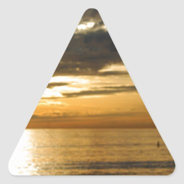 Beach Themed golden pacific sunset triangle sticker