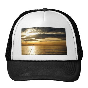 Beach Themed golden pacific sunset trucker hat