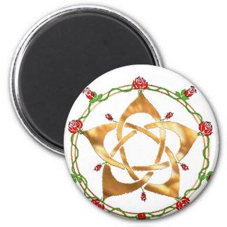 Golden Pagan Goddess Pentacle Fridge Magnet