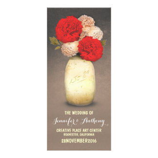 golden painted mason jar red flowers programs personalized rack card