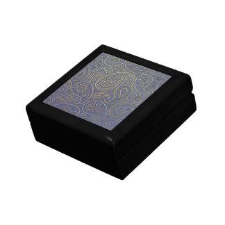 Golden paisley design on vintage worn blue fabric gift box
