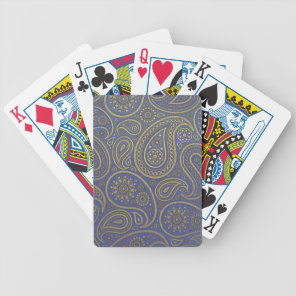Golden Paisley on Blue Bicycle Playing Cards