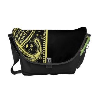 Golden Paisleys On Black Rickshaw Messenger Bag