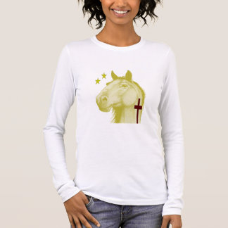 Golden Palamino Horse W/Cross ~ Ladies Long Sleeve Long Sleeve T-Shirt