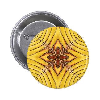 Golden Palm Frond Mandala Pinback Button