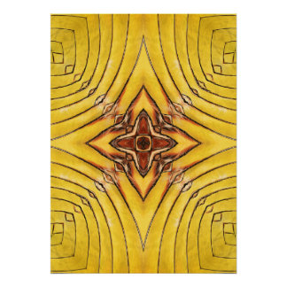 Golden Palm Frond Mandala Poster