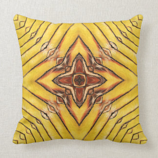 Golden Palm Frond Mandala Throw Pillow