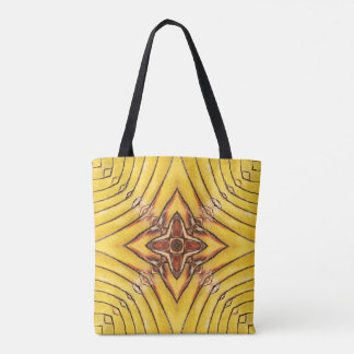 Golden Palm Frond Mandala Tote Bag
