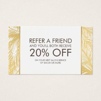 Golden Palms Spray Tanning Logo White Referral Business Card