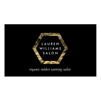 Golden Palms Spray Tanning Salon Logo on Black Business Card