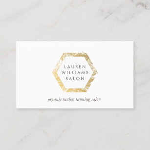 Golden Palms Spray Tanning Salon Logo On White Business Card