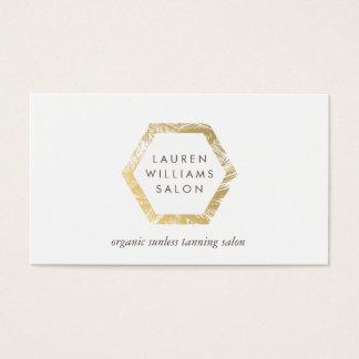 Golden Palms Spray Tanning Salon Logo on White Business Card