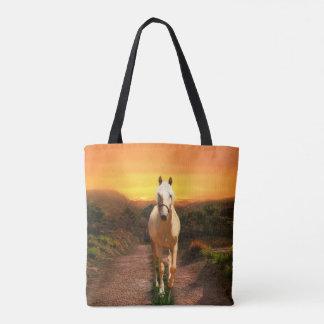Golden palomino golden sunset tote bag