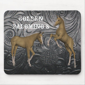 Golden Palomino Horses Leather Print Mouse pad