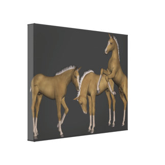 Golden Palomino Horses Wrapped Canvas Art Stretched Canvas Print