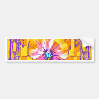 Golden Pansy Flower, Butterflies Gifts by Sharles Bumper Stickers