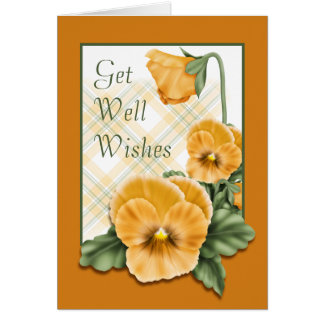 Golden Pansy Flowers Get Well Wishes Card