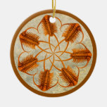 Golden Paraceraurus fossil trilobite wheel Double-Sided Ceramic Round Christmas Ornament