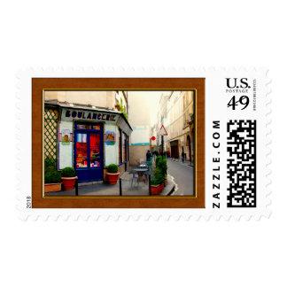 Golden Paris Street Postage Stamps