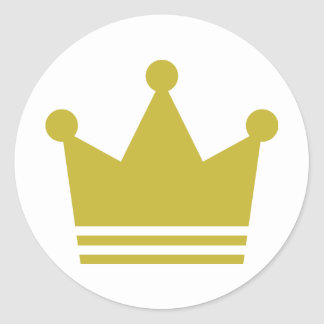 golden party crown icon classic round sticker