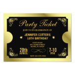 Golden Party Ticket 5x7 Paper Invitation Card