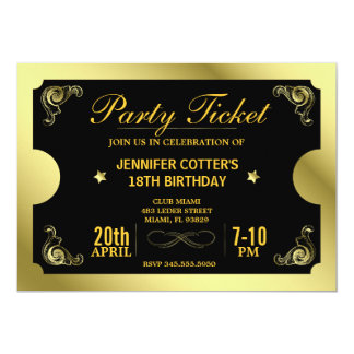 Golden Party Ticket Invites