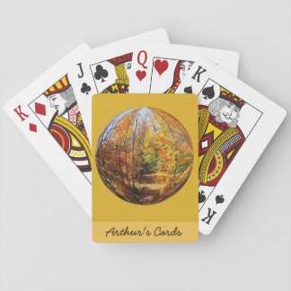 Golden Path in a Mid-Autumn Forest Globe Design Poker Cards