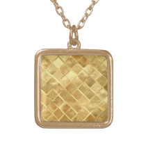 Golden pattern adorn gold plated necklace