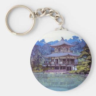 Golden Pavilion  Hiroshi Yoshida garden lake scene Basic Round Button Keychain
