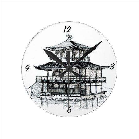 Golden Pavilion Round Clock