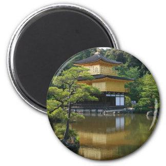 Golden Pavilion Temple in Kinkaku 2 Inch Round Magnet