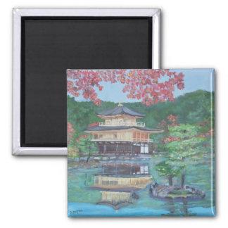 Golden Pavillion in Kyoto 2 Inch Square Magnet